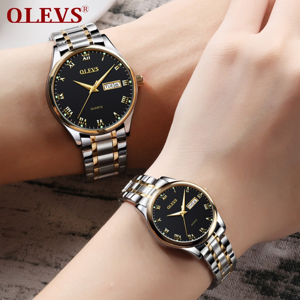 OLEVS Woman Watches Stainless Steel Couple Watches Ladies Mens Top Brand Luxury Clock Casual Wrist Watch Relogio bayan kol saati simple style mesh steel women watches top brand luxury rose gold black ladies quartz hours woman dress watch bayan kol saati