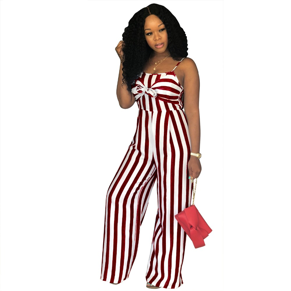 d4dd31317c9 Loose Striped Jumpsuits Spaghetti Strap Wide Leg Rompers Womens Jumpsuit  Sleeveless Hollow Out Party Summer Long