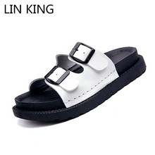 LIN KING Casual Buckle Women Slippers Thick Sole Girls Wedges Summer Platform Shoes Anti Skid Woman Beach Lazy Sandalias
