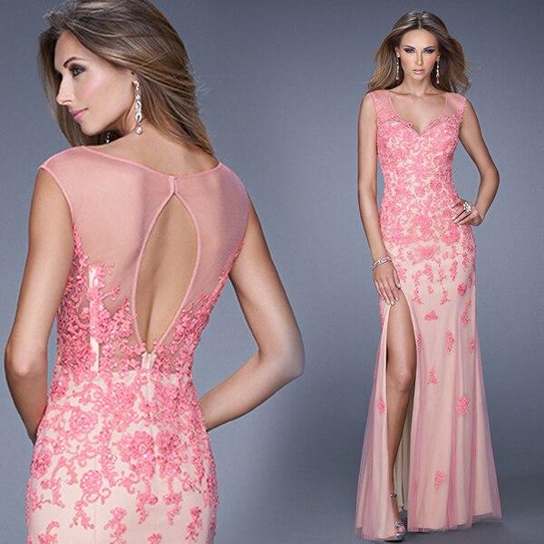 Mujeres vestido de noche Formal de encaje de color rosa noche de la ...