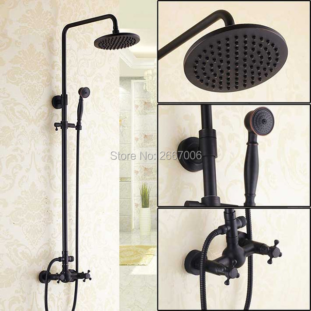 Free shipping Classic Retro Design Wall Mounted Adjustive Shower Set With Pipe Black Bronze Bathroom Rainfall Shower Set GI270
