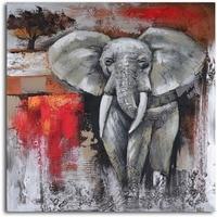 Wild animal african elephant painting Canvas art Elephants Encounter artwork in oil handmade High quality