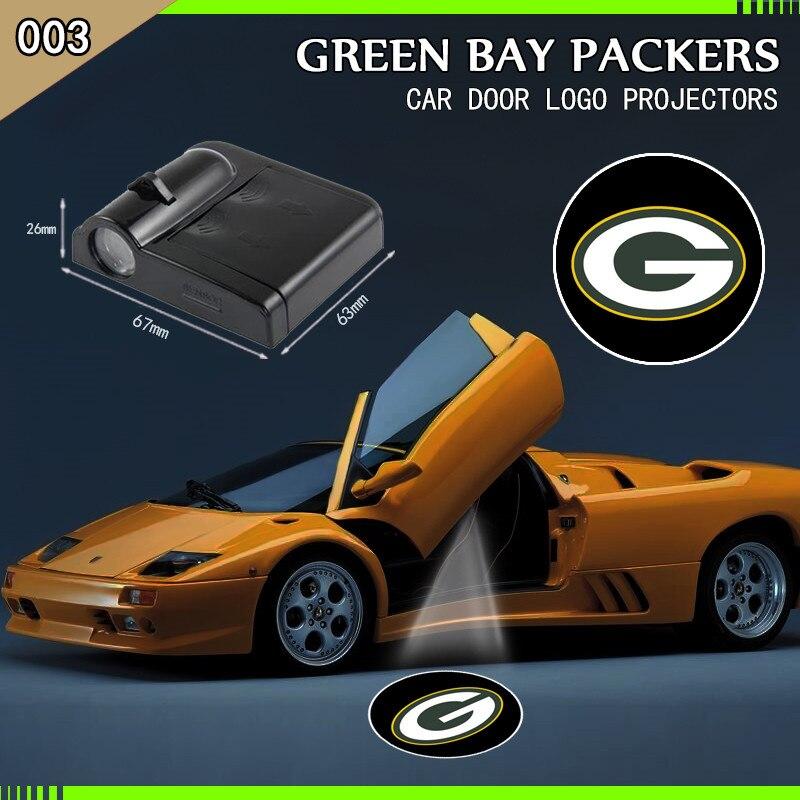 2 stücke Green Bay Packers Football NFL Geist Schatten Licht Willkommen Lampe Logo Laser Projektor Auto LED Tür Warnung Licht für Audi