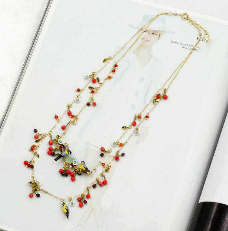 CSxjd Luxury design Goldfinch bird cherry gem Big necklace complex sweater chain wedding accessories necklace women