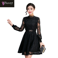 New 2016 Women Spring Elegant Black Lace Patchwork Long Sleeve Dress With Belt Casual Turtleneck Ck