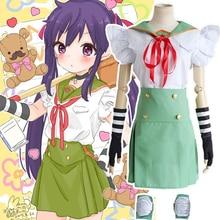 Anime japonés Escuela-Live! Ebisuzawa Kurumi Cosplay Uniforme Escolar Ropa (Top + Falda + Guantes + Rodilleras + Cinta)