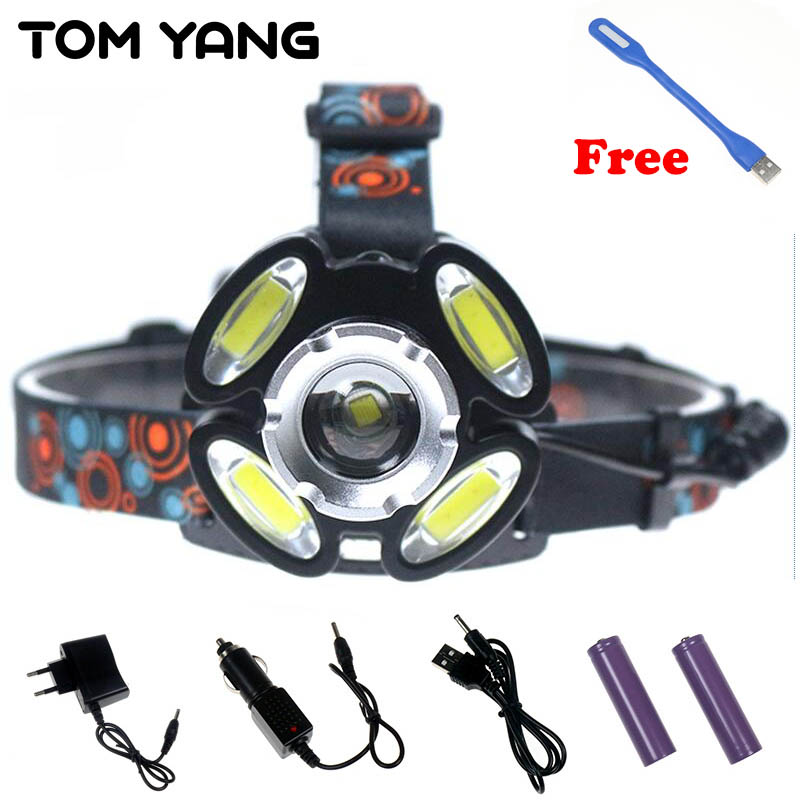 16000LM USB Rechargeable LED Headlamp Flashlight Cree XML-T6 COB Zoomable 5 LED Headlight Head Lamp 18650 Battery Fishing Light 30w led cob usb rechargeable 18650 cob led headlamp headlight fishing torch flashlight