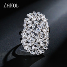 ZAKOL Brand Fashion Luxury AAA Cubic Zircon Sliver Color Open Ring  Oval Ring Jewelry For Women Party Dinner FSRP233