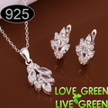 free shipping real high quality zircon stone Women accessories 925 stering silver fashion jewelry set flower necklace earring619