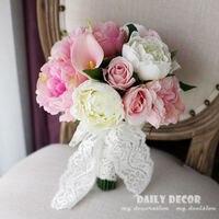Artificial pink rose peony Calla lily flowers wedding bridal bouquet bride holding flower Bridesmaid bouquet ramo de boda novia