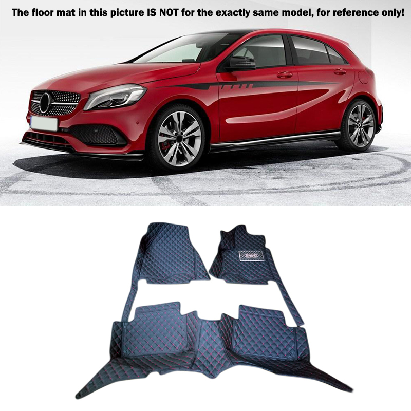 For Mercedes-Benz A Class W176  2012-2016  Accessories Interior Leather Front & Rear  Carpets Cover Car Foot Mat Floor Pad 1set car rear trunk security shield cargo cover for mercedes benz ml class w164 ml300 ml350 ml500 2006 2012 high qualit accessories