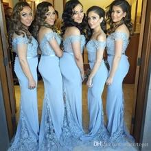 2016 Cheap Off Shoulder Bridesmaid Dress For Wedding Lace Beaded Mermaid Formal Party Gowns With Buttons  Dress BD110