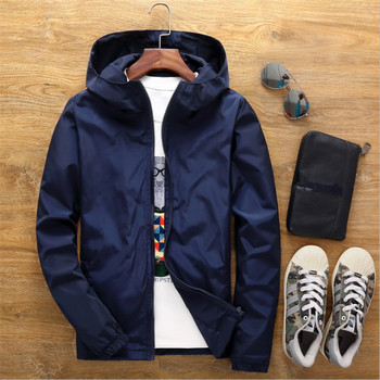 Size 6XL 5XL 7XL 2018 Spring Autumn Young Men Windbreaker Hooded Jacket Slim Thin Clothing Top Quality Waterproof Plus Size