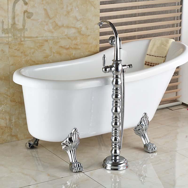 Top end Freestanding Bathtub Faucet Tub Filler Single Handle Ceramic ...