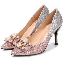 Glitter Elegant Wedding Party Pointed Toe Crystal Stiletto Women Pumps Scarpe col Tacco Punta Taglia Nuziale Sposa Sera Z-ZZFK-2