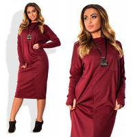 Plus Size 4xl 5xl 6xl Women Clothing 2017 Long Sleeve Autumn Winter Fleece Dress Big Size