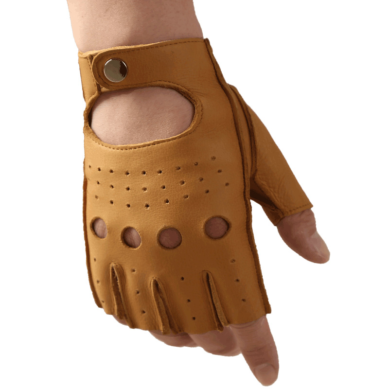 Half Finger Gloves Male Cowhide Fitness Non-Slip Wear Resistant Driving Motorcycle Locomotive Real Leather Gloves N8801