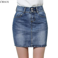 LXUNYI Summer Women Short Denim Skirt OL High Waist Women S Slim Package Hip Jean Skirt