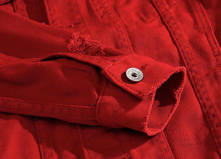 Осень отверстие джинсовая куртка для мужчин рваные ковбойские куртки пальто мужской Slim Fit однотонная Повседневная хлопковая красн