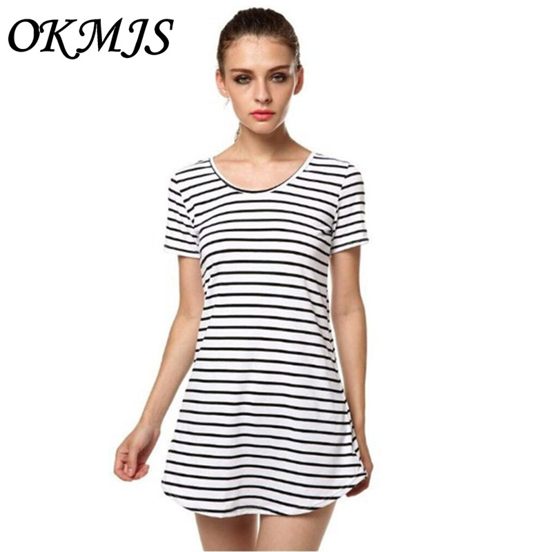 Casual Striped Dress O Neck Sexy Women Cotton Straight Long T Shirt Top Tee Boho vestido Summer Style Beach Wear Preppy Desses