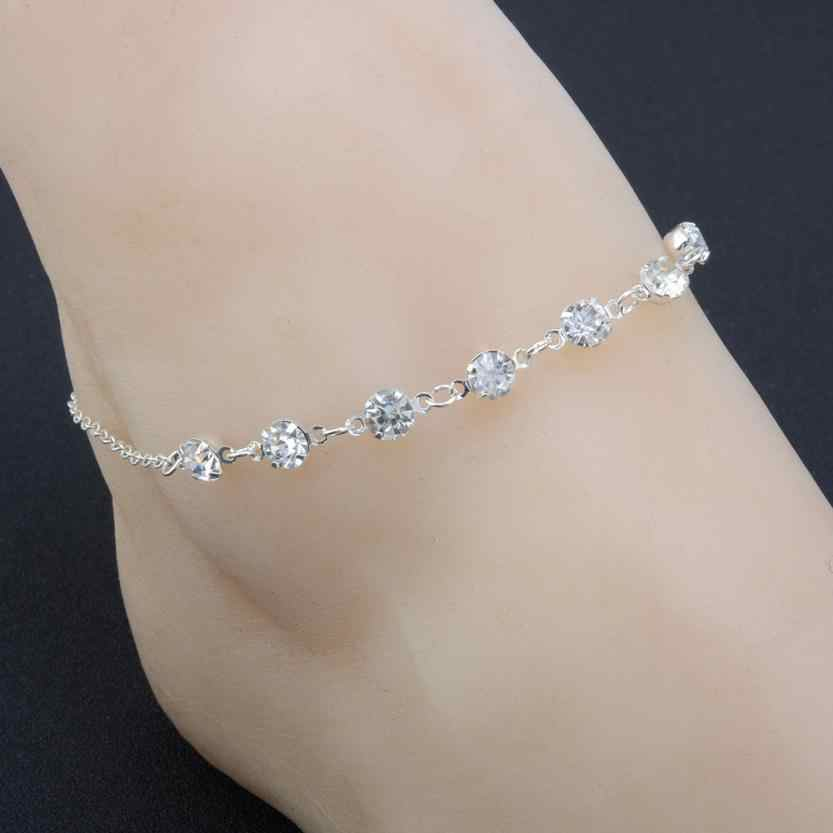 Stylish Silver Ankle Bracelet Women Anklet Adjustable Chain Foot Beach Jewelry Accessories Exquisite Shiny Bracelets Oorbellen