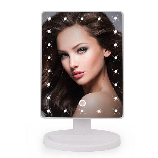 22 LED Сенсорный Экран Зеркало Для Макияжа Профессиональный Косметическое Зеркало Огни Здоровье Красота Регулируемый Столешницу Вращающийся на 180