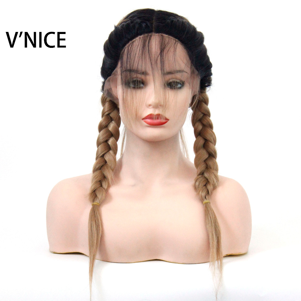 VNICE Long Double Braids High Temperature Fiber Dark Roots Ombre Honey Blonde Synthetic Braided Lace Front