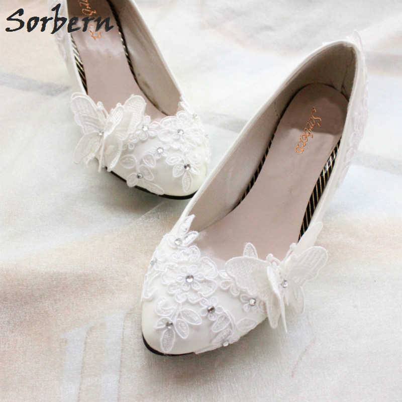 e473375938d ... Sorbern Butterfly Flowers Flat Wedding Shoes Slip On Flat Shoes Women Off  White Bridal Shoes Beaded ...