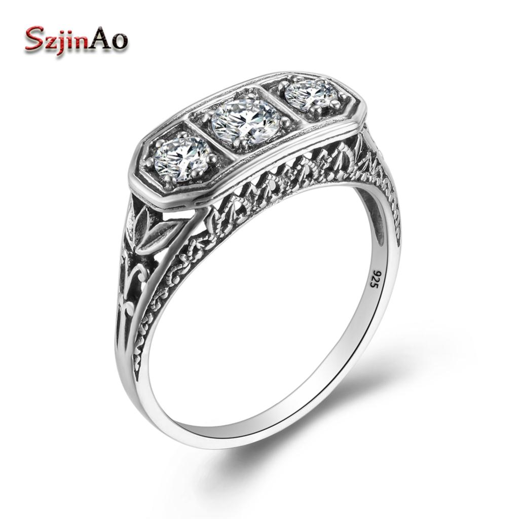 Szjinao New Brand Pure 925 Sterling Silver Ring 3 Precious Stone CZ Cocktail Wedding Vintage Finger Ring Women Fine Jewelry