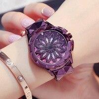 New Watch Woman Quartz Watch Fashion Dress Watch Ladies Classic Rotating Diamond Flower Girl Student Bracelet