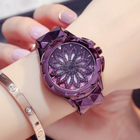 New Watch Woman Quartz Watch Fashion Dress Watch Ladies Classic Rotating Diamond Flower Girl Student Bracelet