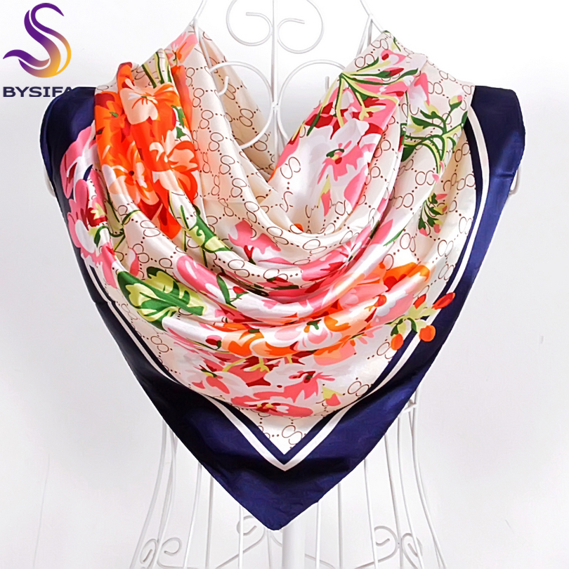 BYSIFA Women Satin Silk   Scarf   Hijab Brand Blue Pink Red Floral Pattern Square   Scarves     Wraps   Spring Autumn Muslim Head   Scarf   Cape