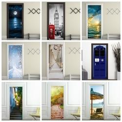 Украшение для дома 3d deur наклейка adesivi per porte пейзаж художественные обои на дверь водонепроницаемый deurposter для декора стены двери