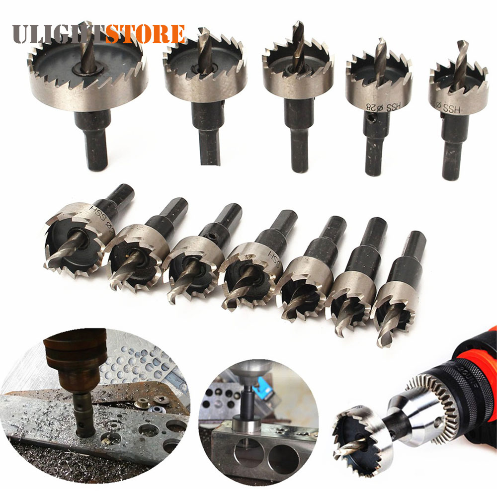 ¡12 piezas! 15-50mm HSS broca sierra perforadora agujero VI cortador de Kit de herramienta de mano de madera de acero inoxidable de aleación de Metal de corte