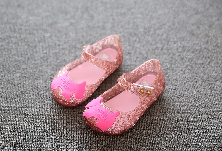 17 new fashion girls shoes Bow jelly sandals female child soft outsole princess shoes open toe shoes kids sandals baby shoes 12