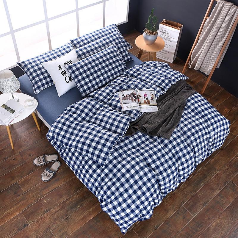 Modern Style Blue Plaid Pattern Was Solid Color Polyester Soft 1Pcs Duvet Cover 120X150CM 220X240CM 180X220CM 7 Size Bedspread