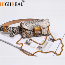 HIGHREAL Women Waist Bag Leather Female Belt Chain Bags Fashion Fanny Pack Waist Belt Bag Female Hip Belt Bum Pouch Phone Bags