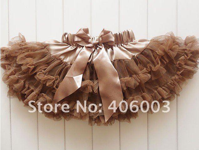 Дети юбки осень зима девочка пушистый петти юбки для девочек коричневый юбка
