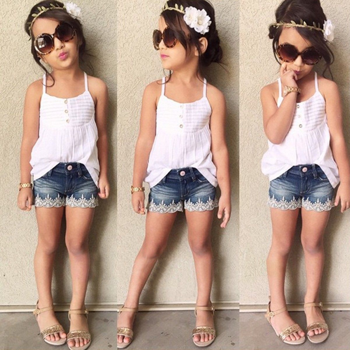Okolady 2017 New Fashion Kids Clothing Sets Toddler Baby Girls Tank Top T-shirt Dress+Jeans Pants Clothes Outfits Set off shoulder tops t shirts denim pants hole jeans 3pcs outfits set clothing fashion baby kids girls clothes sets