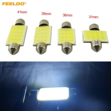 FEELDO 1Pc White 31mm/36mm/39mm/41mm COB 12SMD 12LED 1.5W Car Festoon LED Bulb Interior Dome Light #FD-4861