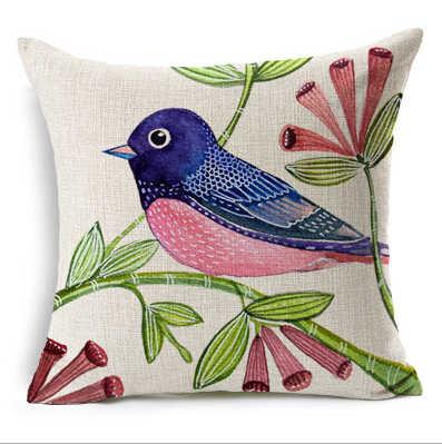鳥装飾枕北欧絵画リネンクッション 45x45 カラフルな鳥 almofadas パラソファ