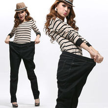 2017 Spring and Autumn Style Plus size 6XL 117Kg Women Jeans Show Thin Winter Female Pants Elastic elastic waist large