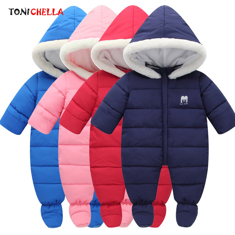 Baby Rompers Thick Warm Hooded Climbing Clothes Winter Newborns Infant Jumpsuit Boys Girls Outdoor Necessary Clothing CL5064 6m 3years baby winter overall toddler warm velvet bear hooded rompers infant long pants kids girls boys jumpsuit pink blue