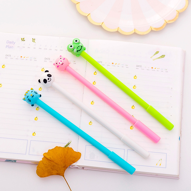 Image 3 - 40 pcs Cute inflatable animal neutral pen 0.5 black student neutral pen-in Gel Pens from Office & School Supplies