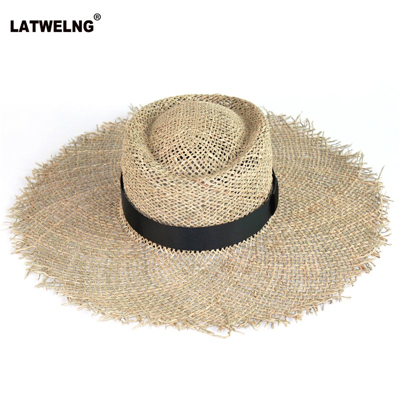 Wholesale Women Sea Straw Sun Hat With Black Belt Fashionable Hollow Summer Beach Hats Breathable Wide Brim UV Hat With Bow