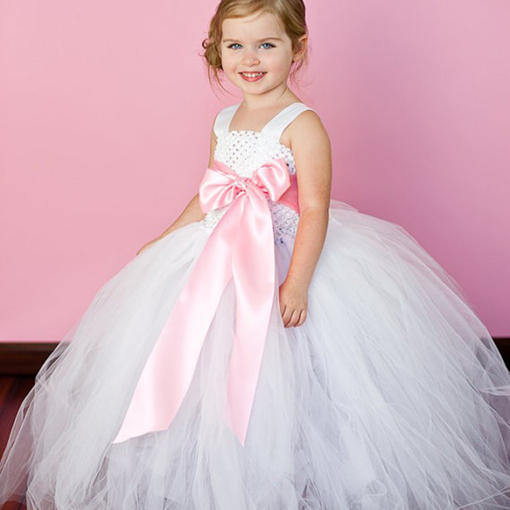 Princess Flower Girl Dress Girls Kids Wedding Party Tutu Dresses Vestidos with Bowknot for Christmas Carnival Birthday Easter