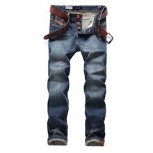 Fashion Classical Buttons Jeans Men Dark Blue Color Straight Fit Brand Ripped Jeans For Men High Street Hip Hop Jeans Homme недорго, оригинальная цена