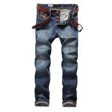 De moda clásica botones Jeans hombres azul oscuro Color marca Jeans  rasgados para hombres de la calle Hip Hop pantalones vaquero. 99c36731996