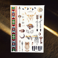 Gold Wise Owl Flash MEtallic Waterproof Tattoo Diamond Makeup Tips GYH-112 Fake Golden Temporary Tattoo Arrows Feather Designs