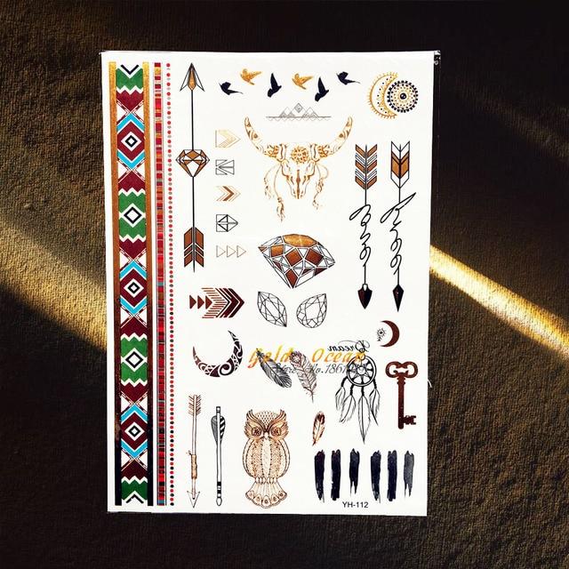 Gold Wise Owl Flash MEtallic Waterproof Tattoo Diamond Makeup Tips GYH-112 Fake Golden Temporary Tattoo Arrows Feather Designs
